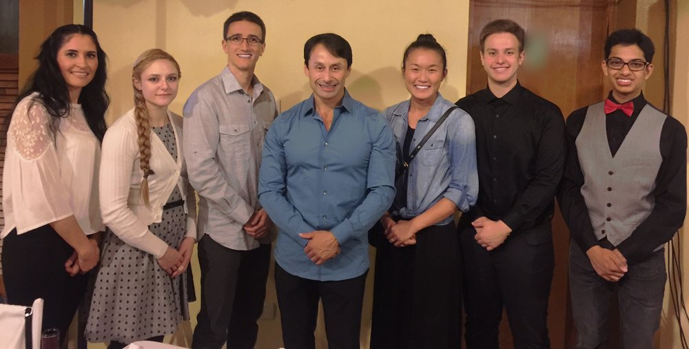 Master John Ozuna, David Curran, Ashley Dong, Katie Schmid, Mark O'Neill, Heather Kinzie, and Pratyush Sridhar at the post-tournament banquet (2015)
