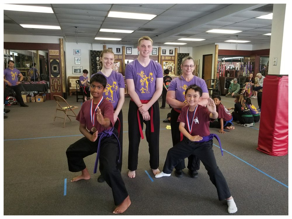 Aniket Mittal and fellow competitor show off their fighting stances at the West Coast Regional Summer Kuo Shu Championship Tournament, 2017