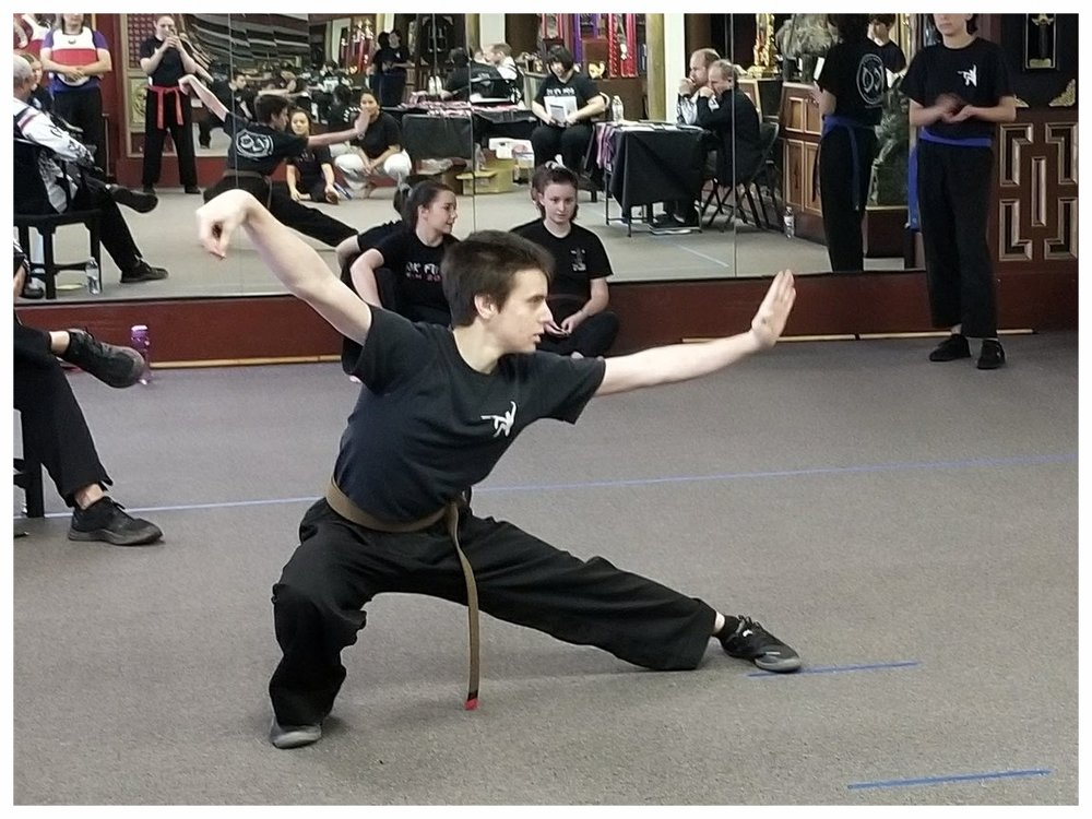 WIlliam Solovei competes in a Kenpo Form at the West Coast Regional Winter KuoShu Championships, 2018