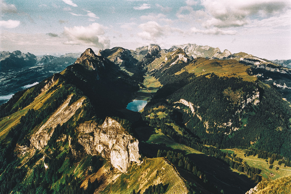 View on the entire Alpstein massif from Hoher Kasten.