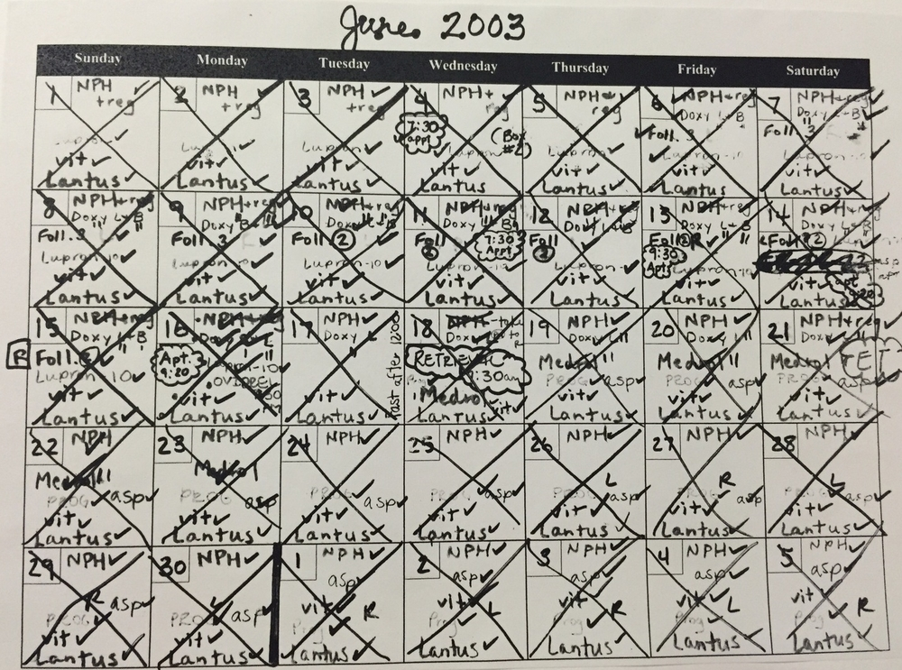 Calendar for the month of June. I needed help keeping track of the fertility medication and insulin.