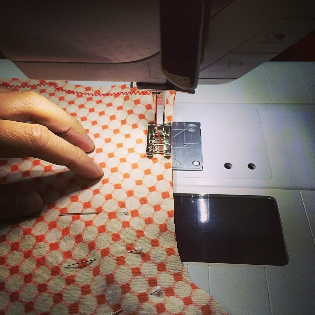 Sewing the coat lining