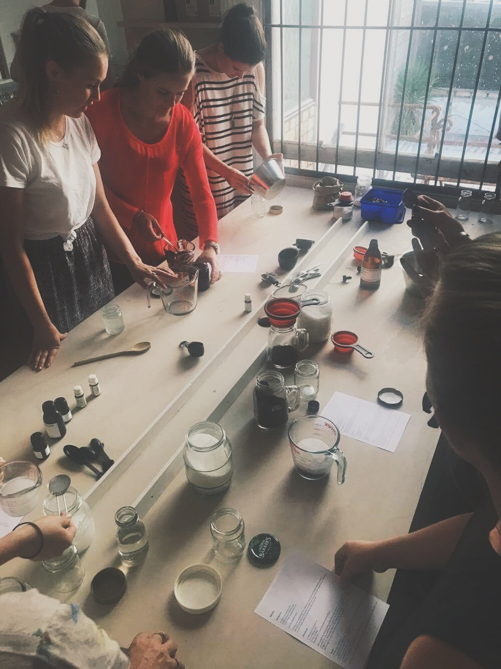 Making zero waste beauty products at my Zero Waste workshop back in December at The Creators