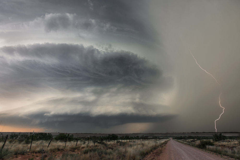 Mesocyclone and lightning near Waurika, Oklahoma on May 7, 2014