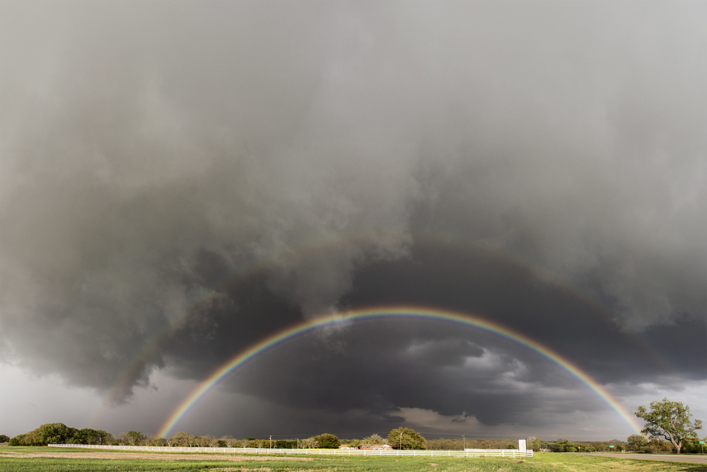 Wall Cloud and double rainbow near Dublin, Texas on April 1, 2014