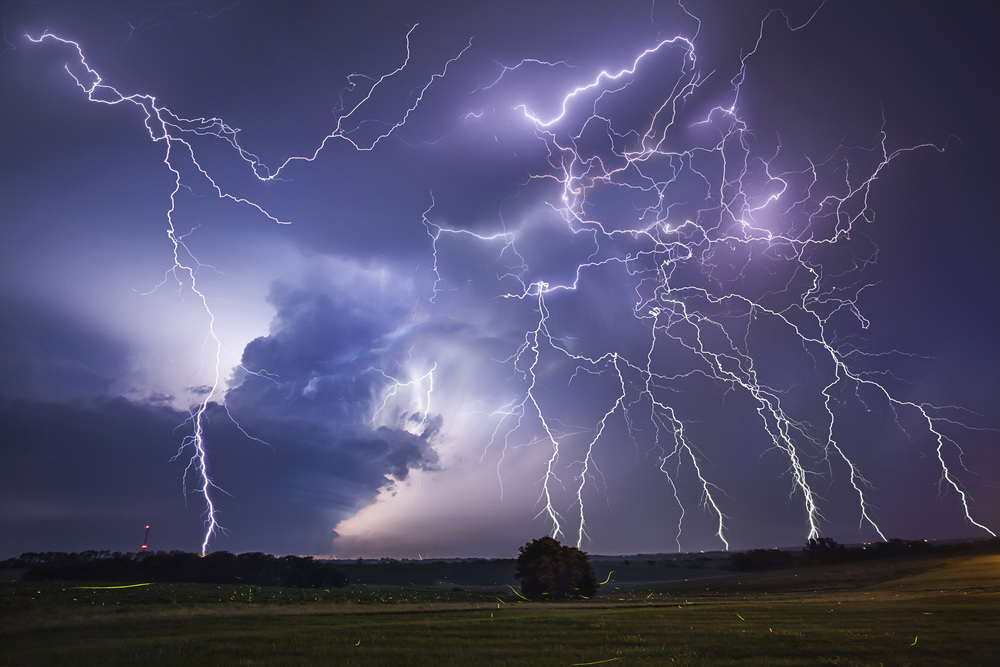 Stacked image of +CG lightning barrage and mesocyclone in Weston, Missouri on June 29, 2014