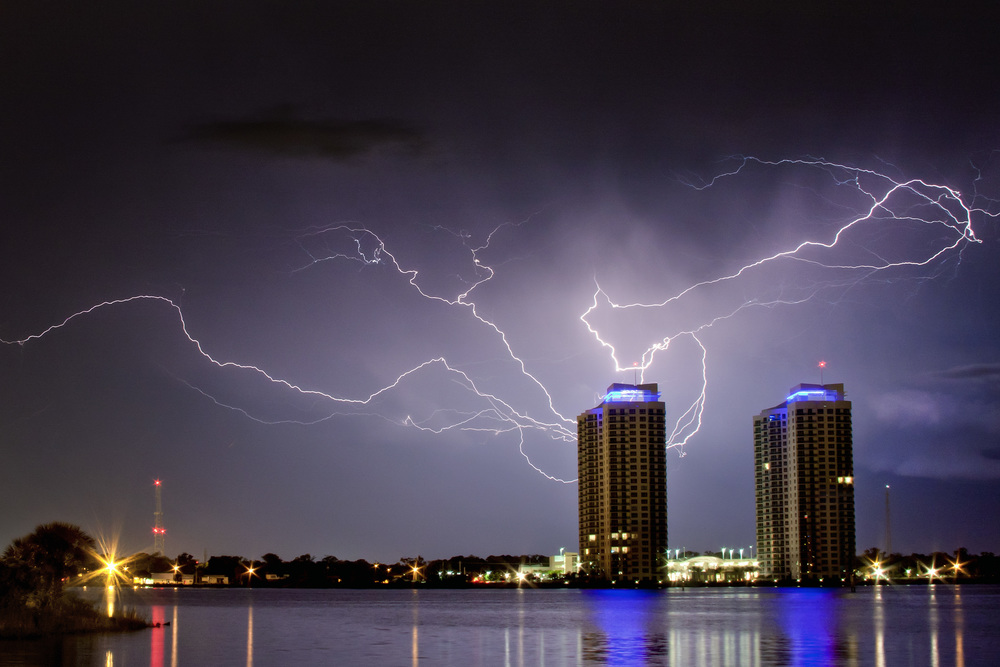 Lightning over the Marina Grande towers in Daytona Beach, Florida on April 25, 2010
