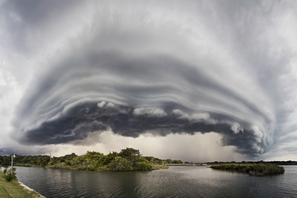 Shelf cloud over the intercoastal waters of Oak Hill, Florida Panorama.