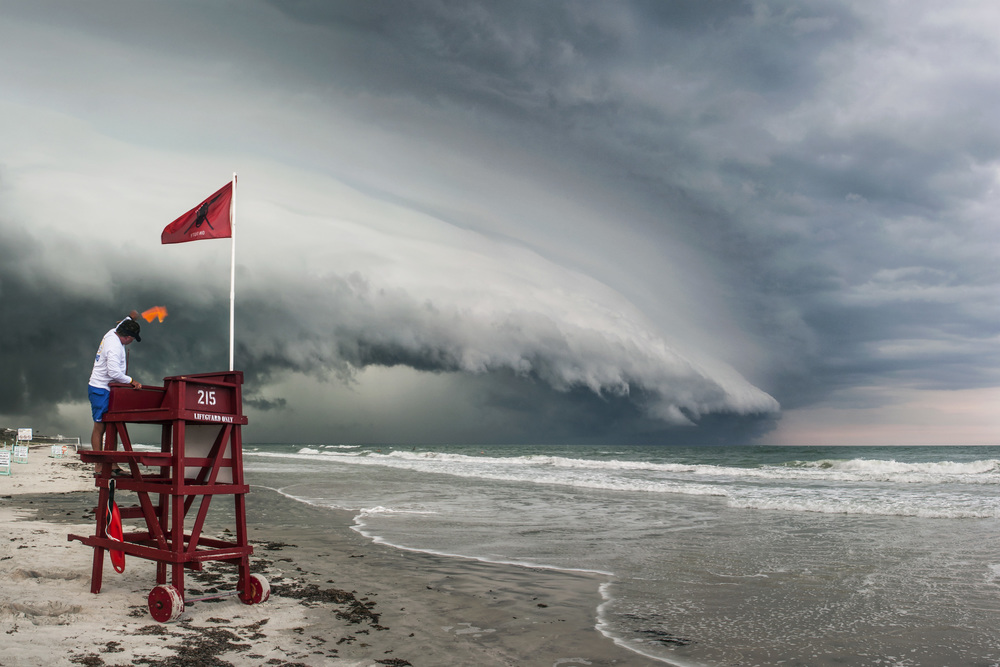 Panorama of shelf cloud approaching Ormond Beach, Florida on May 15, 2012