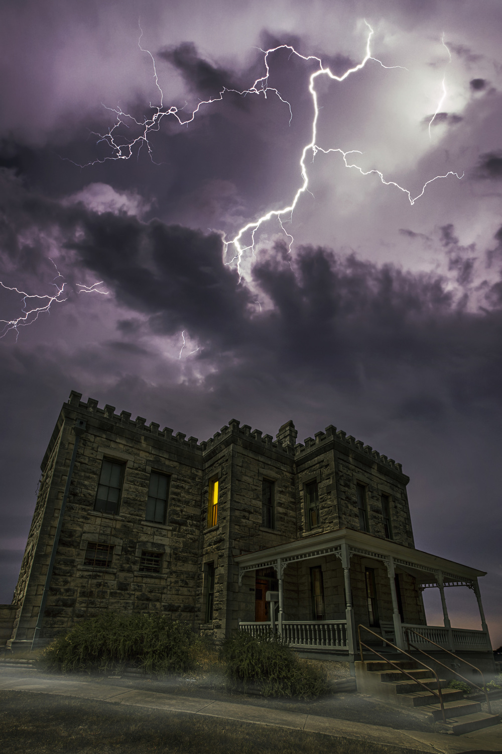 The Old Williamson County Jailhouse. Georgetown, Texas  Composite image made for The Georgetown Magazine.