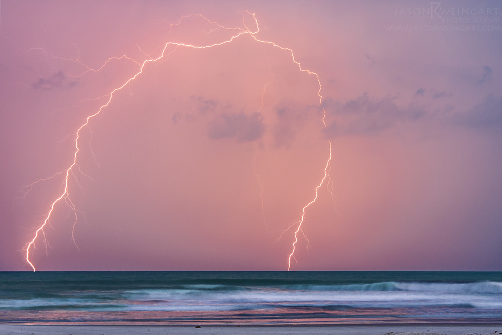 Lightning off the coast of New Smyrna Beach during sunset on may 13, 2011.