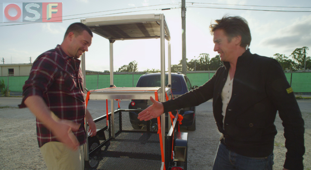 Richard Hammond and Jason Weingart during filming for Wild Weather in Ft. Lauderdale, Florida.