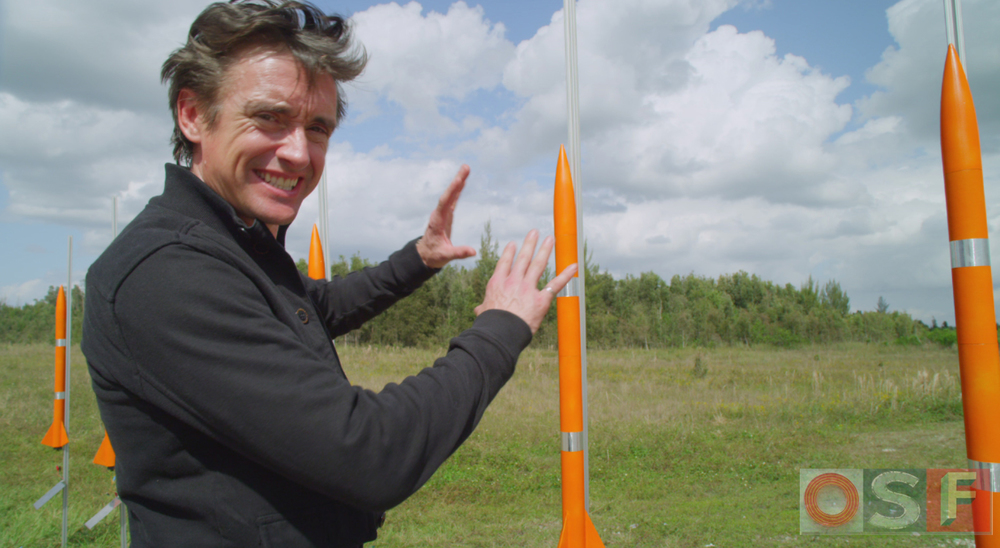 Richard Hammond explains the rocket system during filming for Wild Weather.