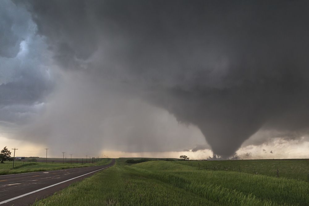 EF3 tornado and clear slot associated with Bennington, Kansas supercell.