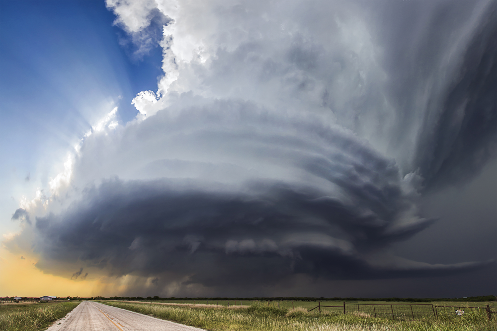 Mesocyclone associated with a supercell near Henrietta, Texas on May 7, 2015