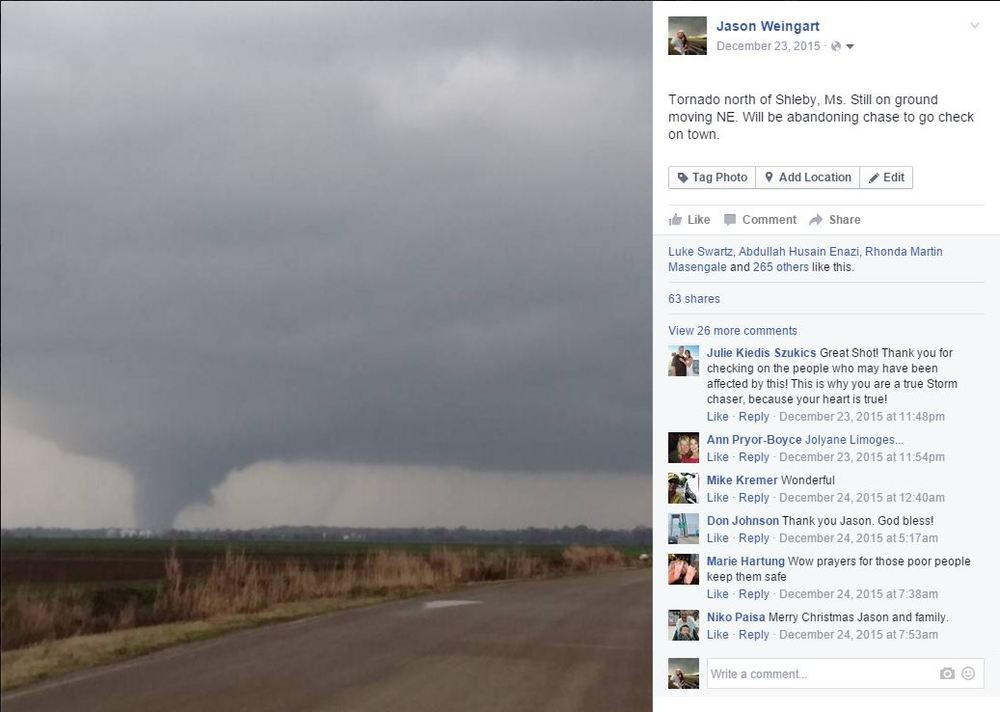3:04:50 pm CST posted to facebook as cameras were rolling on the tornado.