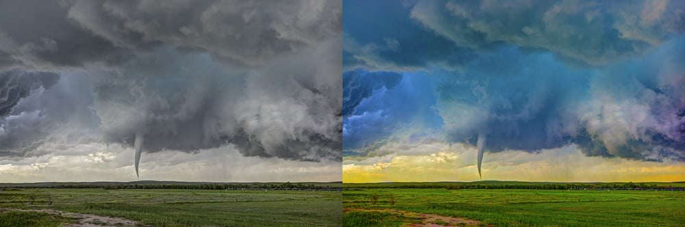 Zach Robert's Simla tornado realistic on the left and otherworldly on the right.