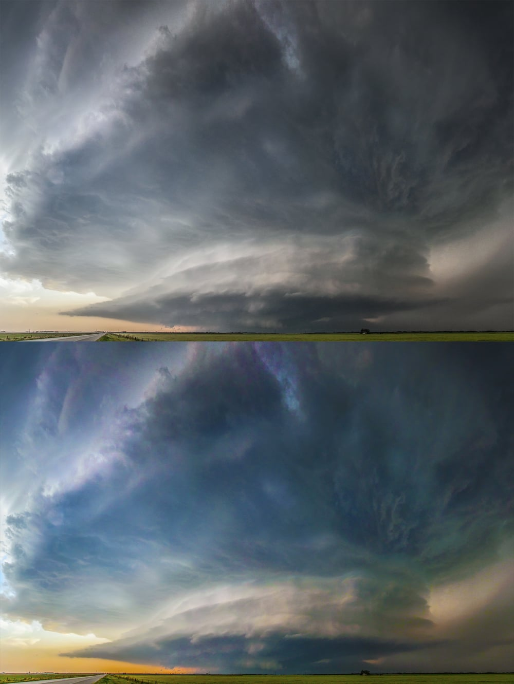 Savannah Williams true to life edit of the Waurika supercell and my saturated special below.