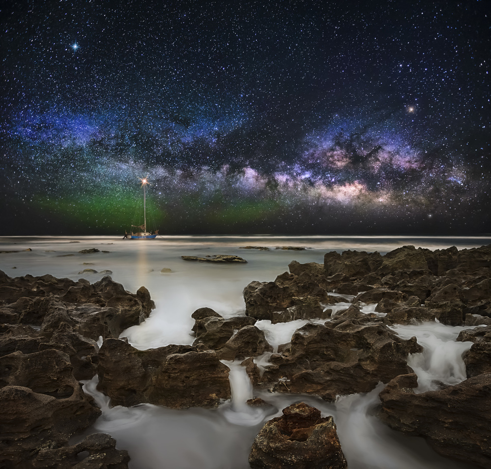 The Milky Way composited over Coral Cove, Florida. The Sky was captured in Big Bend National Park.