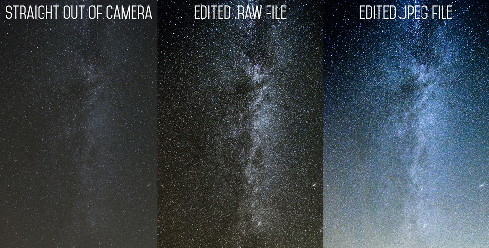 Cygnus portion of the Milky Way. Unedited RAW along with edited RAW and JPEG (both identically edited in Adobe Camera RAW) side by side. Image was shot on a Canon 6D with a 17-40mm f/4.0 lens. 30 seconds, f/4.0, ISO 6400.