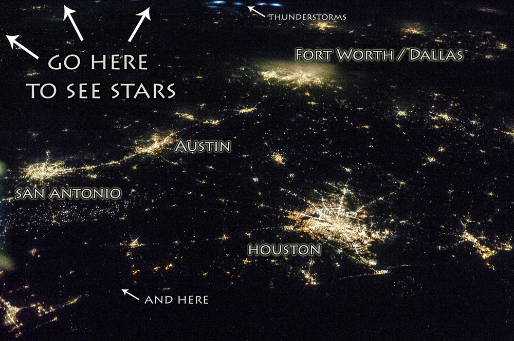 Texas from space, so you can know where to see space from Texas.