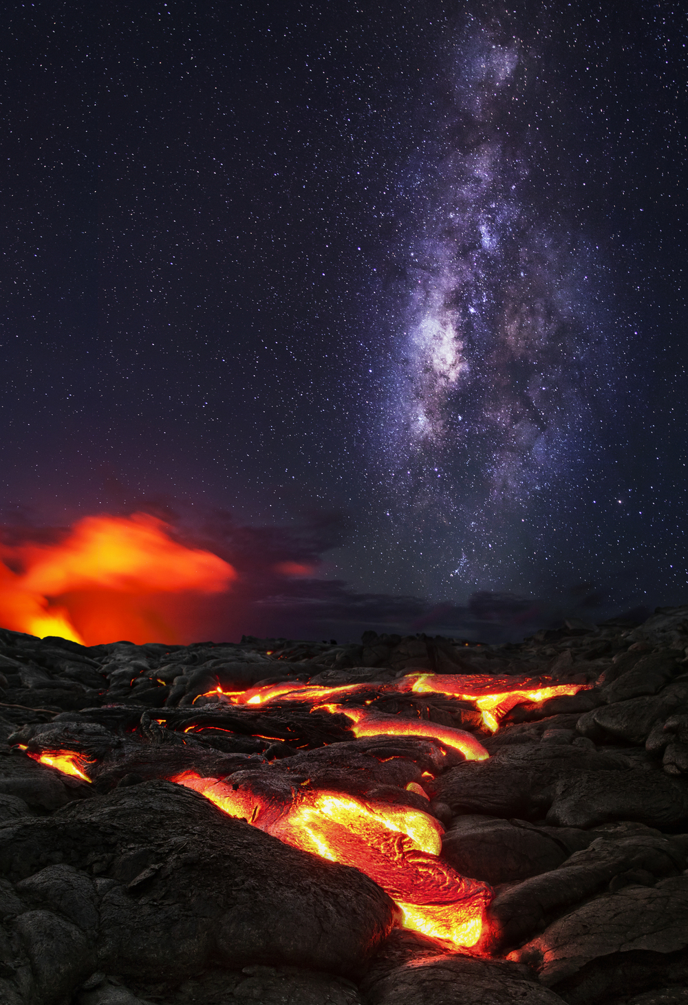 Exposure blend of the Milky Way over lava flow on the Big Island of Hawaii.