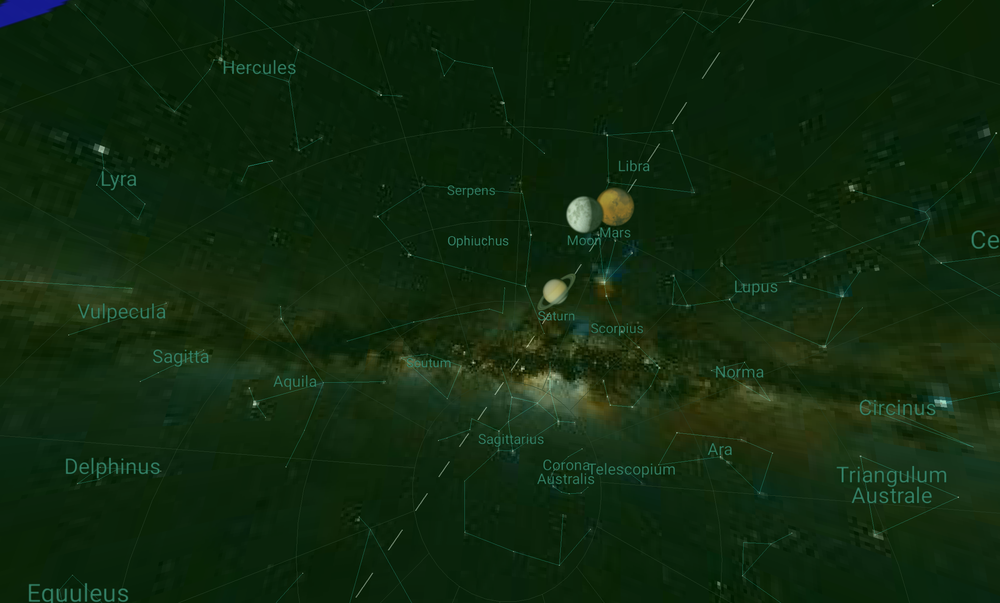 Planets screenshot showing Milky Way, Moon, and planets.