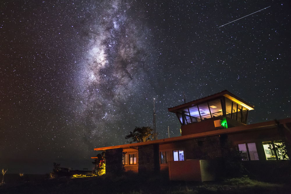 The Milky Way over the Jaggar Museum on the Big Island of Hawaii