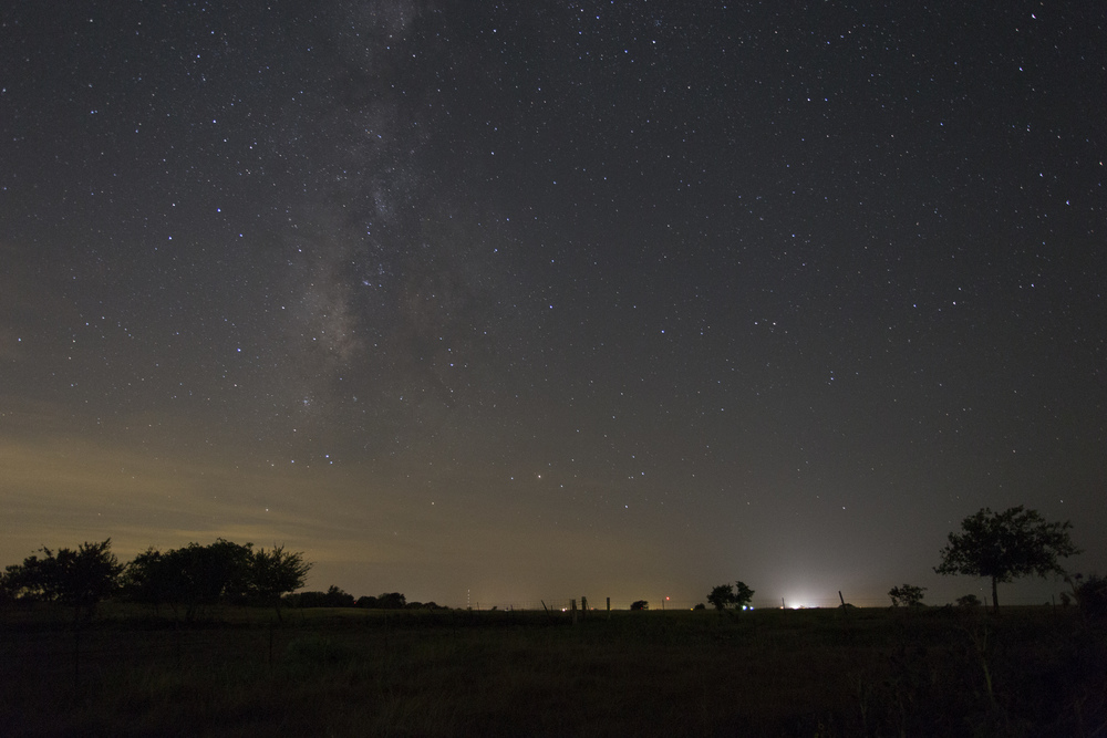 "Unprocessed Milky Way RAW. Notice the light pollution. I was in a ""Yellow"" zone."