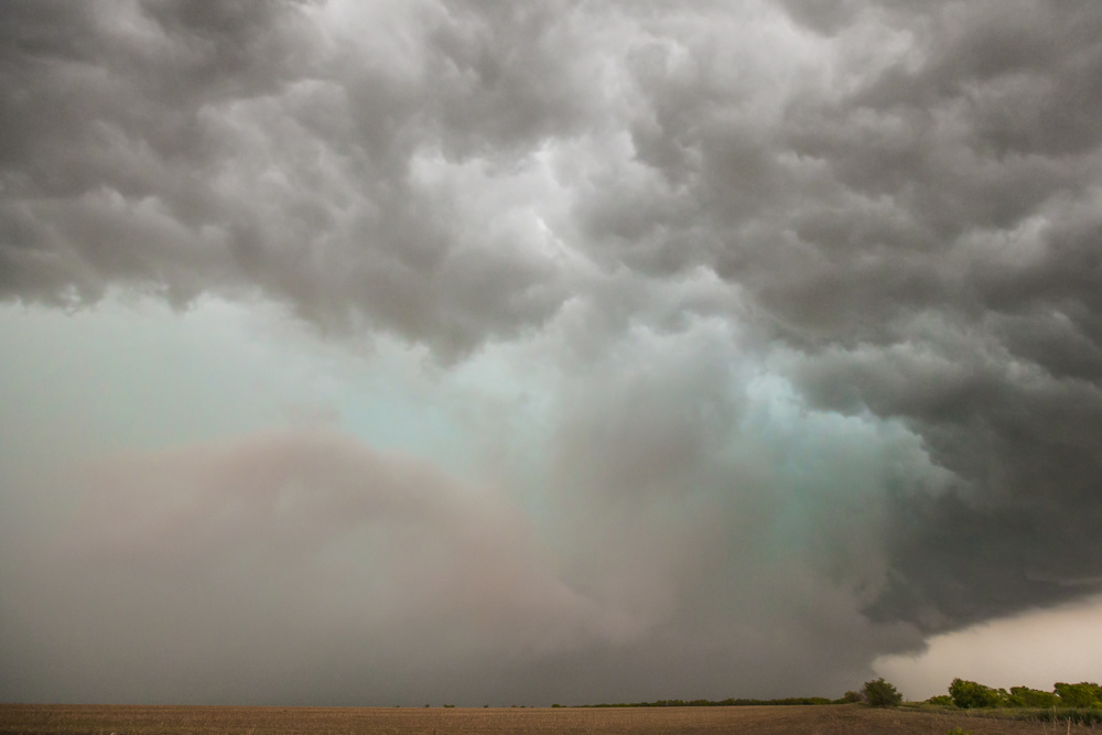 Hail core near Throckmorton, Texas. Notice the green glow indicative of the presence of ice. Image credit: Jason Weingart