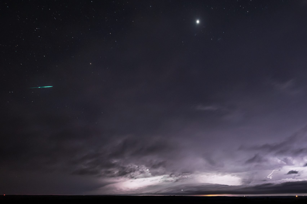 Meteor over a thunderstorm. Coldwater, Kansas f/4.0, 20 seconds, ISO 4000