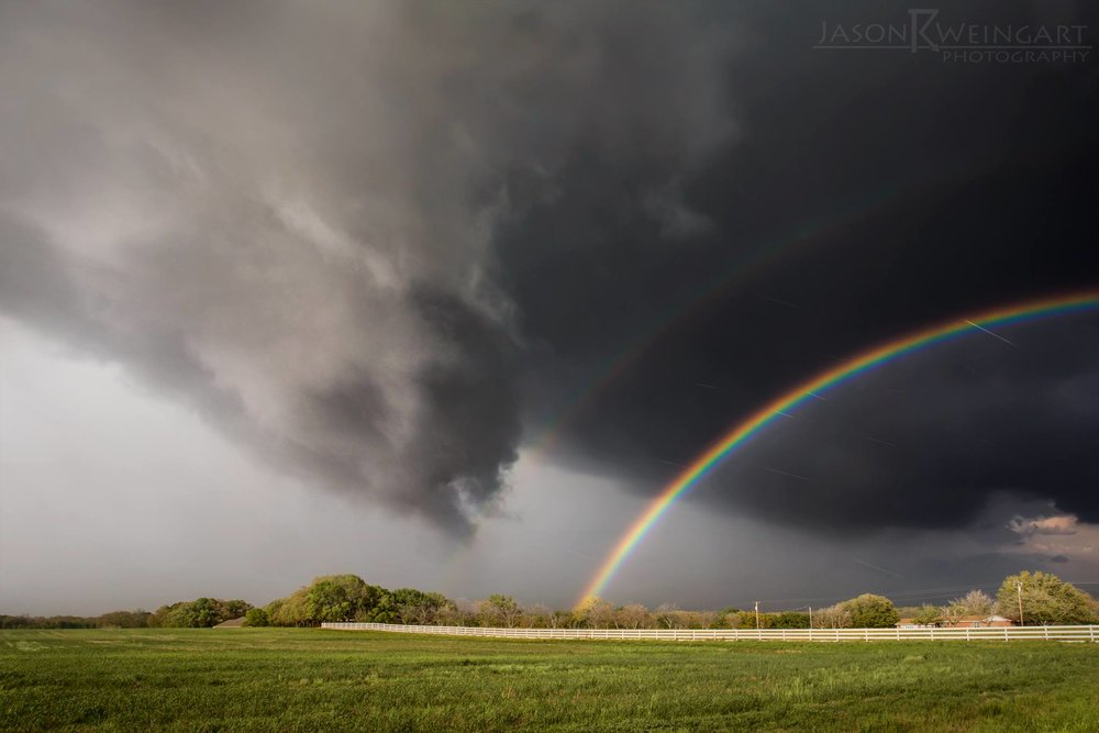 Funnel cloud and rainbow over Dublin, Texas.