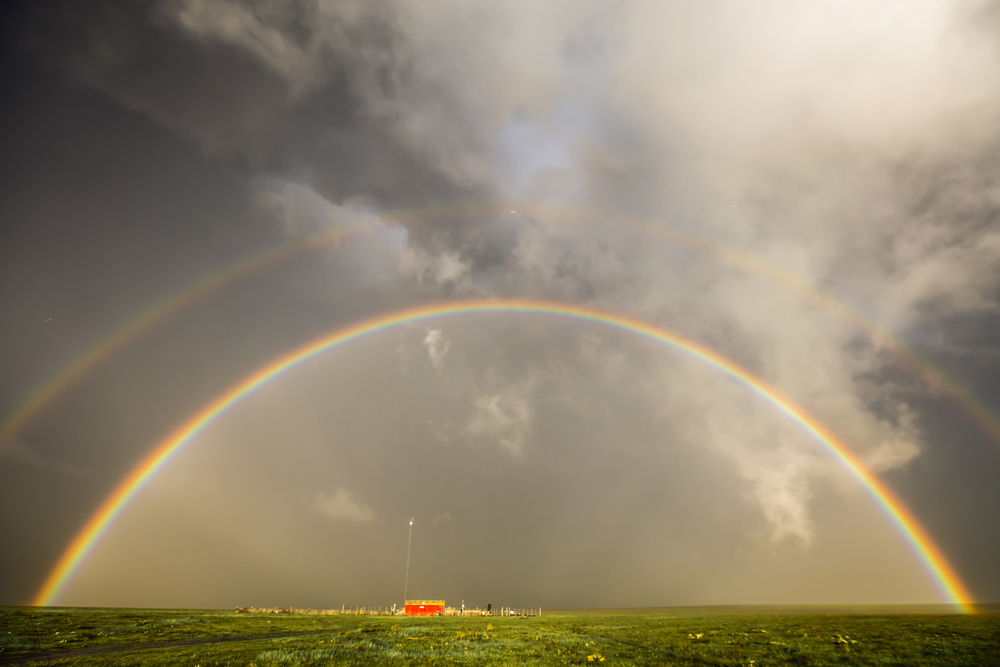 Double rainbow over Wallace, Kansas.