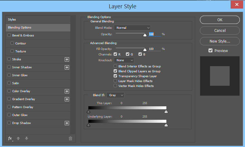 The Layer Styles Panel allows you to easily add effects to a layer.