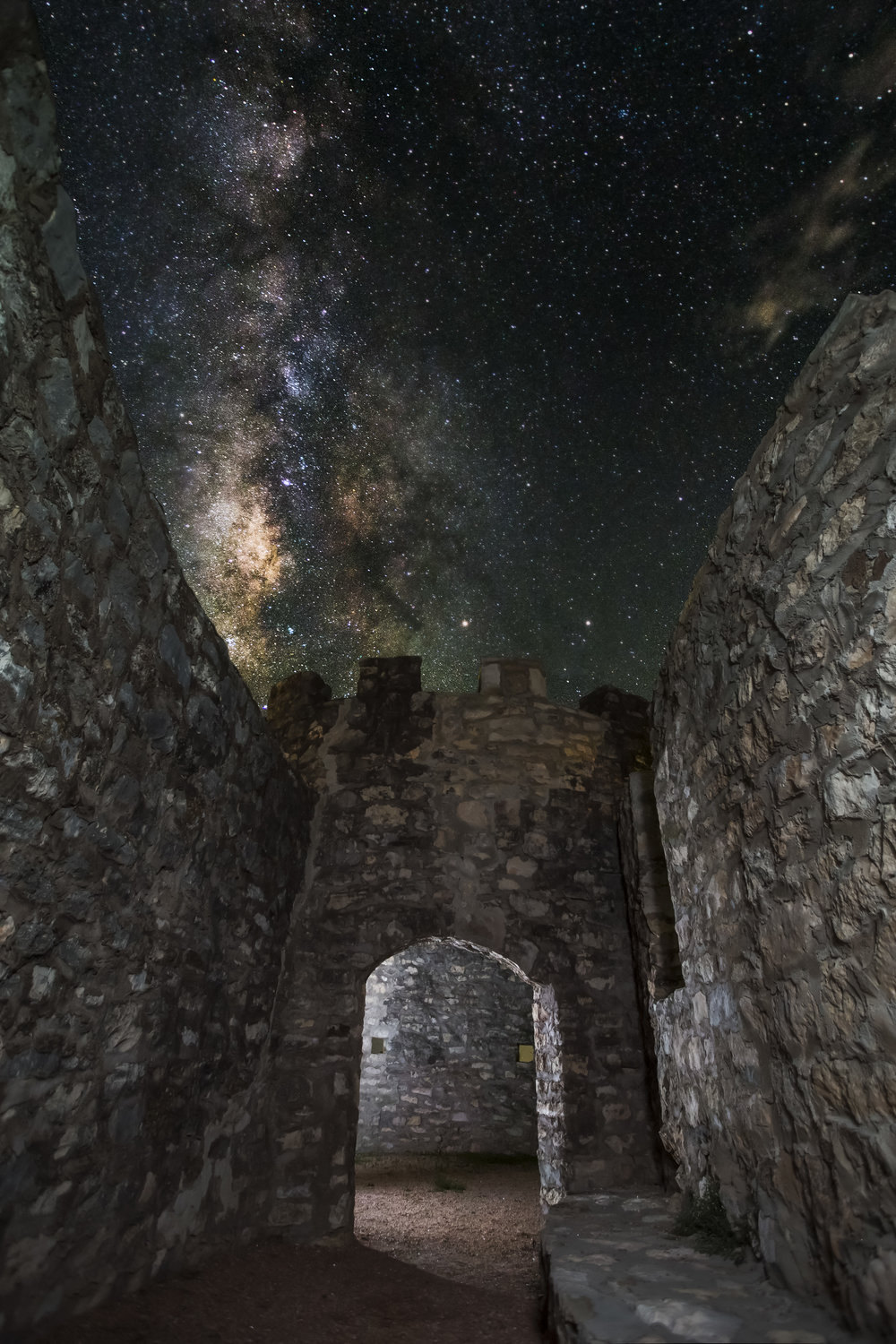 The Milky Way from inside the walls of Presidio de San Saba.