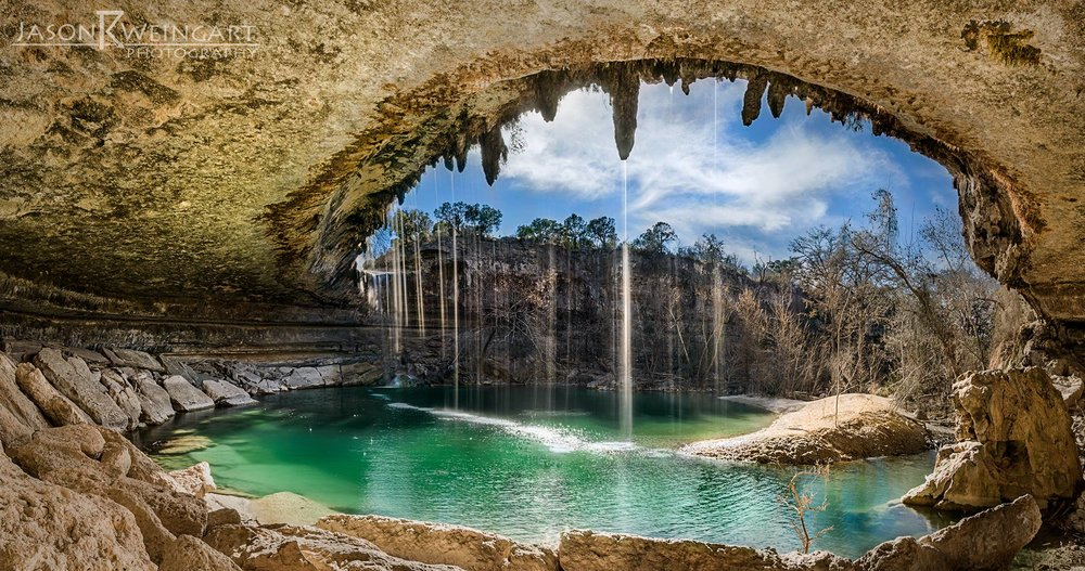Hamilton Pool in Dripping Springs, Tx on a mild January day. I need to get permission to shoot here at night someday.