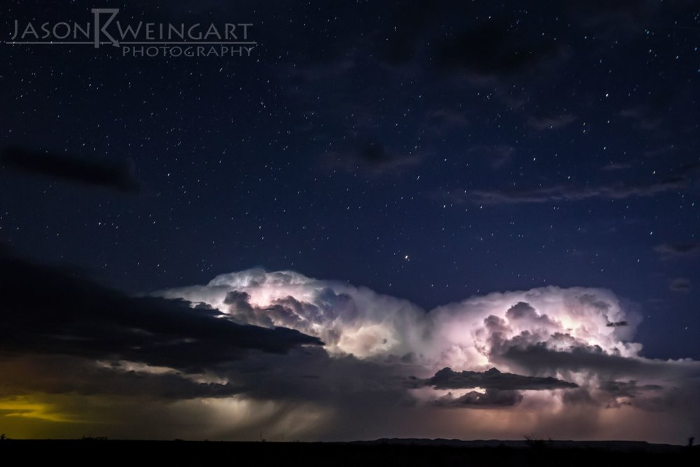 We were treated to a photogenic thunderstorm under the dark skies outside of Alpine, Tx.