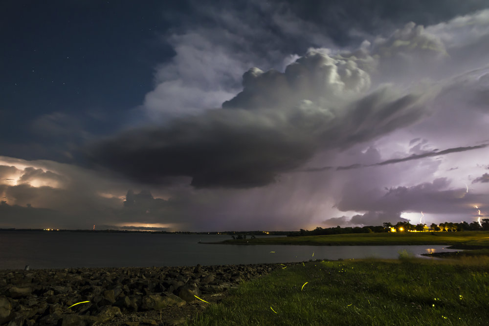 Lightning bugs near a lake in Smithville, Mo. as a weak supercell structure moved through.