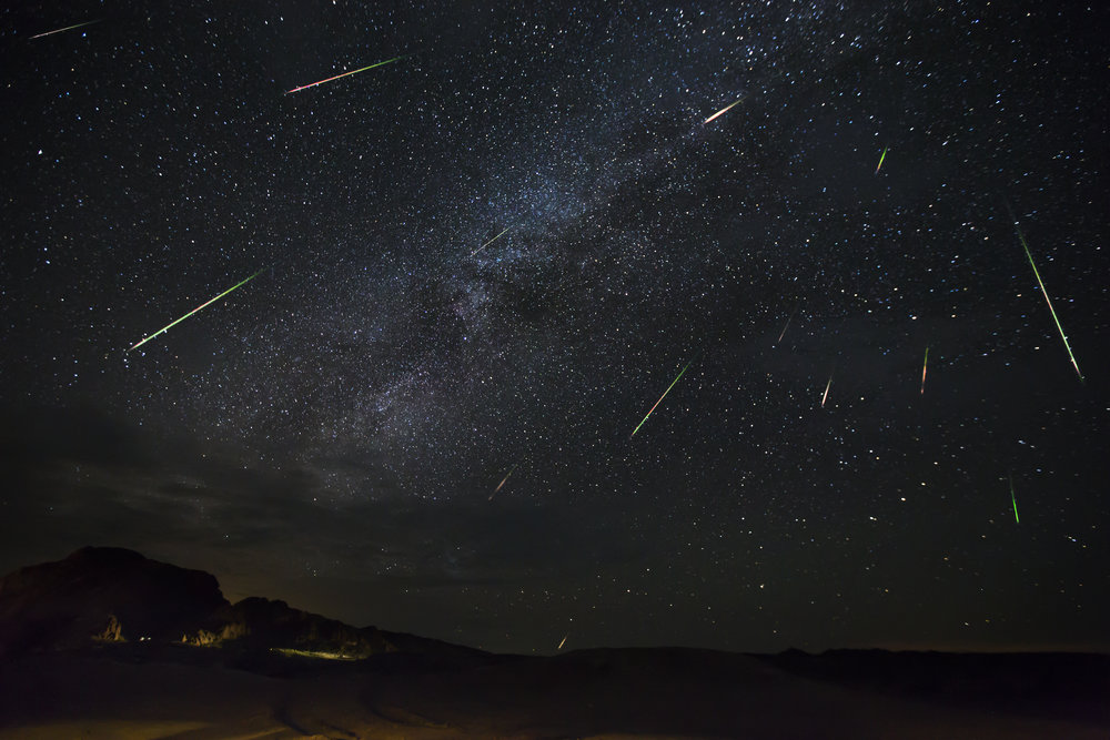 Stacked image of peak night of the Perseid Meteor Shower. Study Butte, Tx.