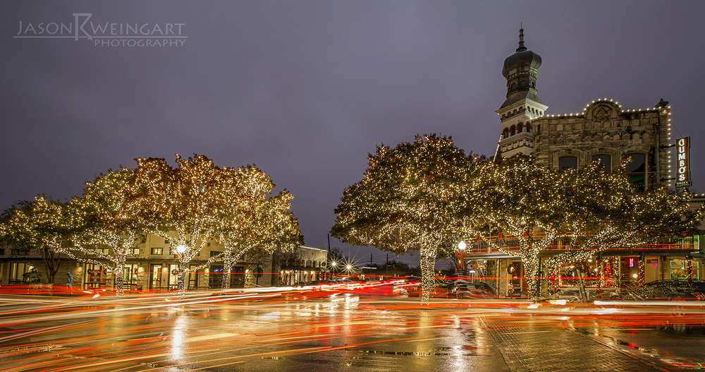 Christmas lights and traffic in Georgetown, Tx.