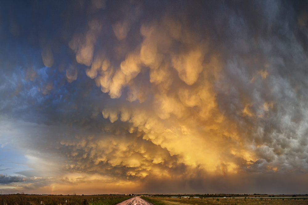 Mammatus clouds over Georgetown, Tx. from a departing storm at sunset.