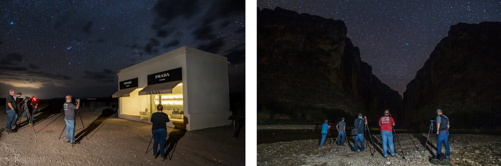 Astrophotography workshop participants at Prada Marfa (left) and the Santa Elena Canyon / Rio Grande River (right).