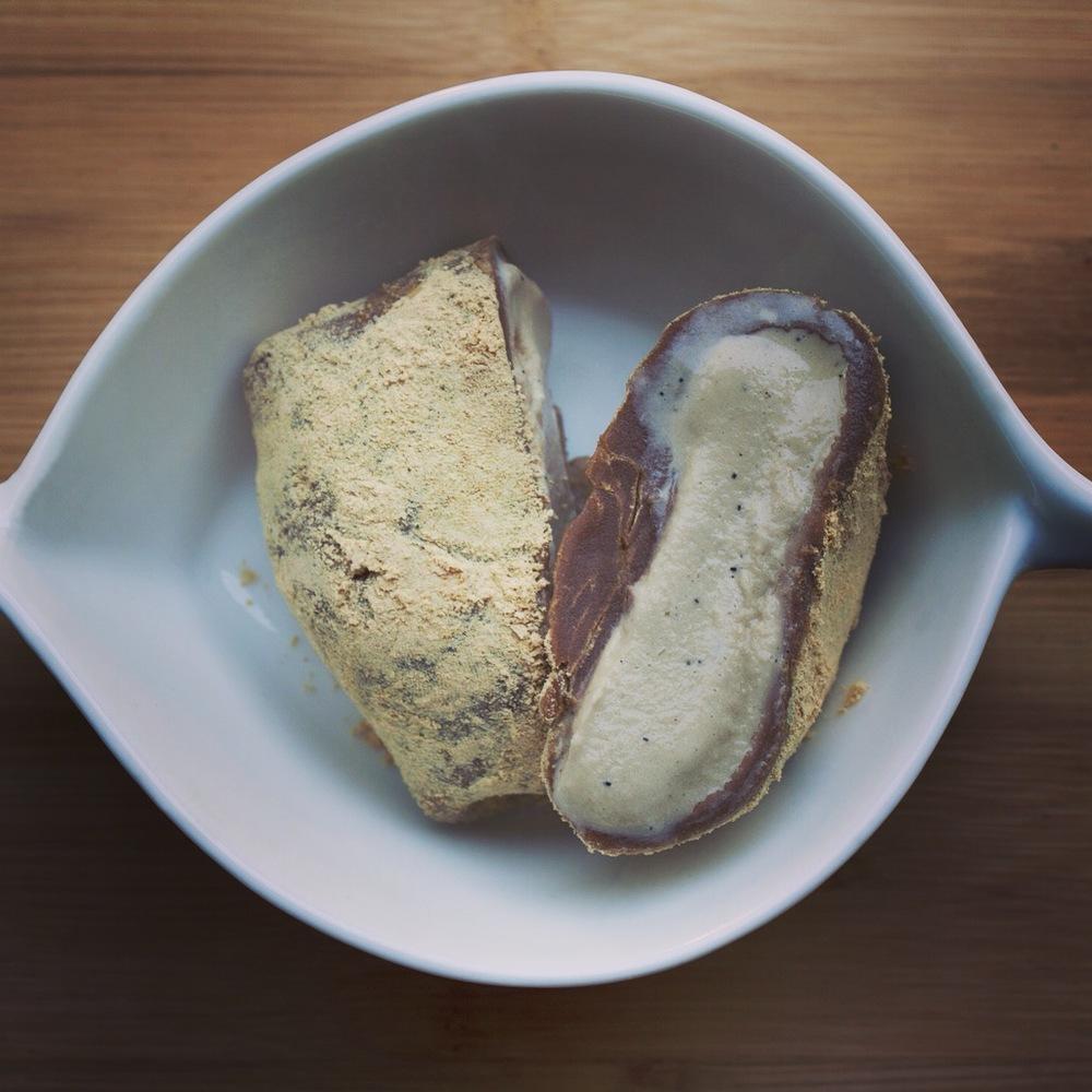 Vietnamese Coffee Ice Cream Wrapped in Chocolate Mochi & Kinako