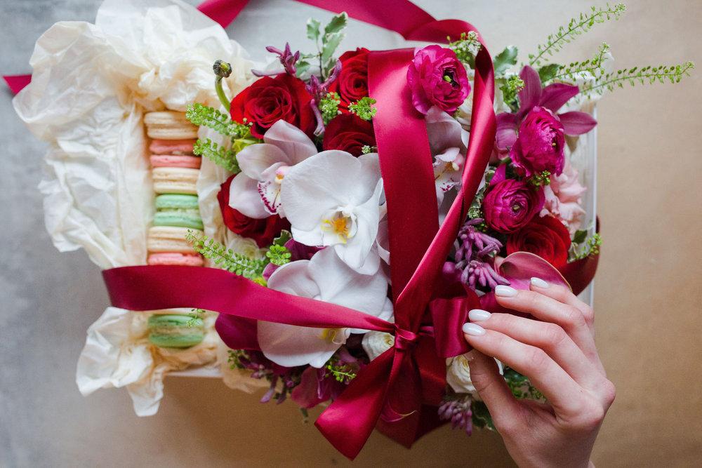 Valentine's Gift Box Flowers Macarons Floristika Studio Boston