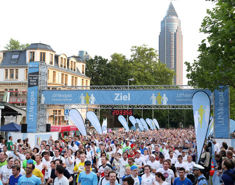 Runners finish the J.P. Morgan Corporate Challenge in Frankfurt, the largest race in the Corporate Challenge Series