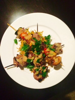 BBQ lamb satay skewers, maple syrup vegetable skewers and teriyaki BBQ noodles 2 .jpg