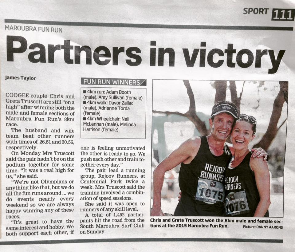 Greta & Chris - Winners of the maroubra fun run 8k 2015