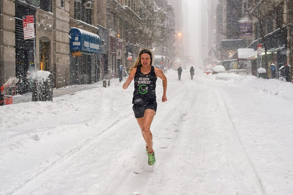Beck Munro - group runner since 2008 - trains anywhere even in a blizzard in new york
