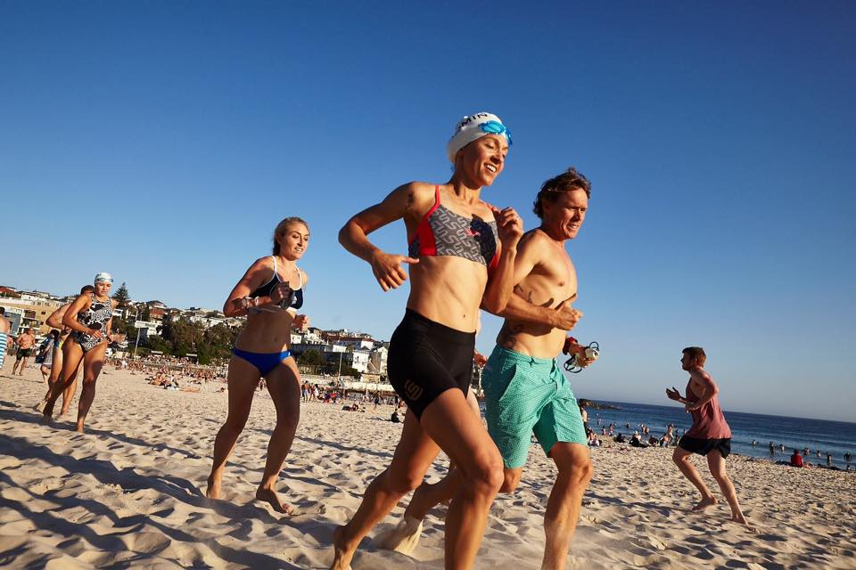 Ocean swimming and soft sand running training with Andy Reid (Bondi Rescue), Spot Anderson, Bondi Fit and Greta (Rejoov) - fabulous fun