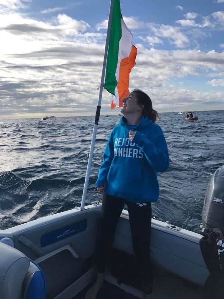 Rejoov on water! Go the Irish! Congrats Saorla on your team win with gun swimmer Matt - The Big Swim Bondi to Watsons Bay